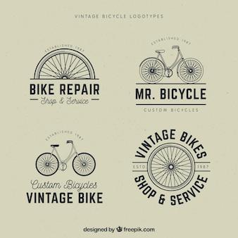 Set di loghi in bicicletta d'epoca