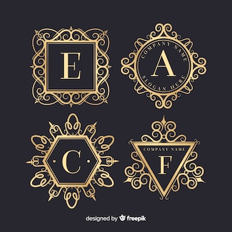 Set di loghi ornamentali vintage