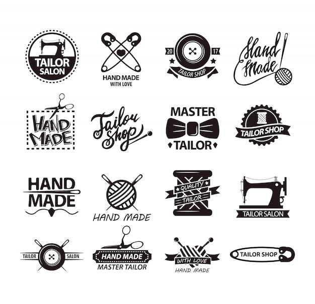 Set di loghi per negozi fatti a mano. logotipi di pubblicità del salone del sarto.