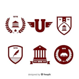 Set di loghi universitari in stile piatto