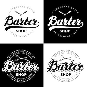 Set di loghi vintage negozio di barbiere con scritte a mano scritte.