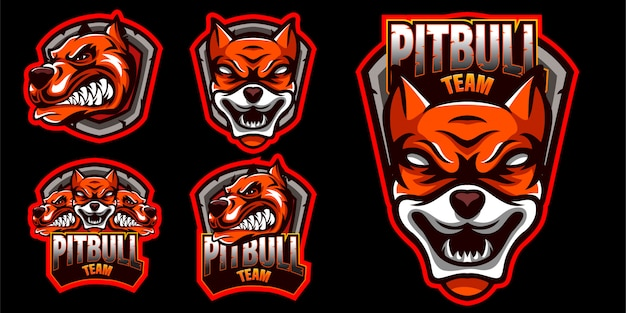 Set di logo arrabbiato cane pitbull