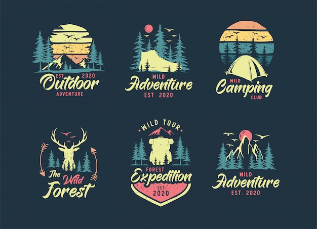 Set di logo campeggio e outdoor