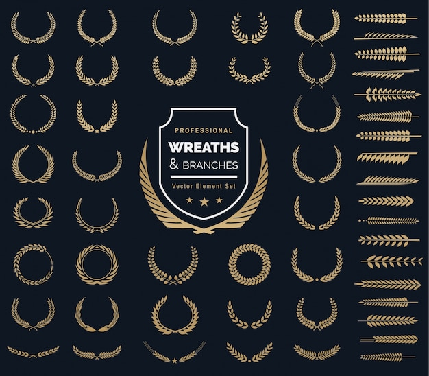 Set di logo del logo crests. logo heraldic, corone d'alloro vintage, elementi di design logo