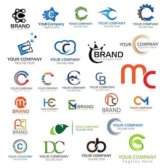 Set di logo della lettera c. set di logo lettera c creativa.