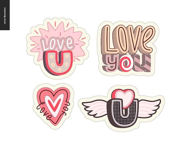 Set di logo della lettera love you contemporanea della ragazza