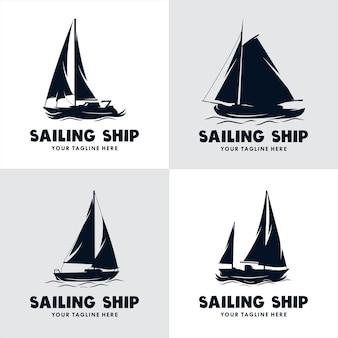 Set di logo della nave a vela