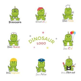 Set di logo di carriera di dinosauro