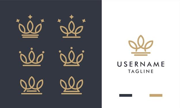 Set di logo di corone d'oro reale con stile art line