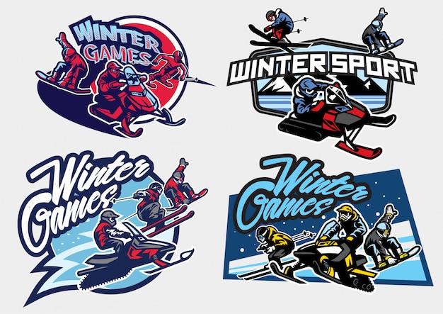 Set di logo di giochi di sport invernali