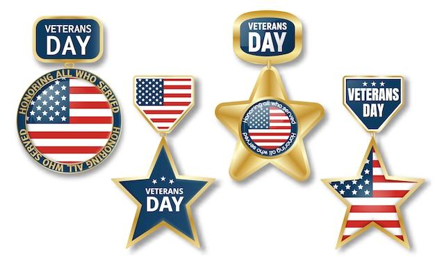 Set di logo di giorno dei veterani