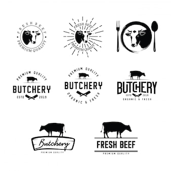 Set di logo di macelleria