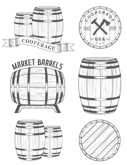 Set di logo di officine cooperage