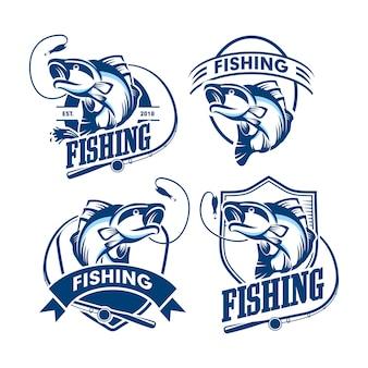 Set di logo di pesca