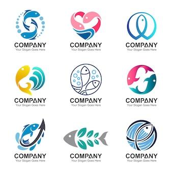 Set di logo di pesce, raccolta di vettore di pesca, modello di progettazione di pesce