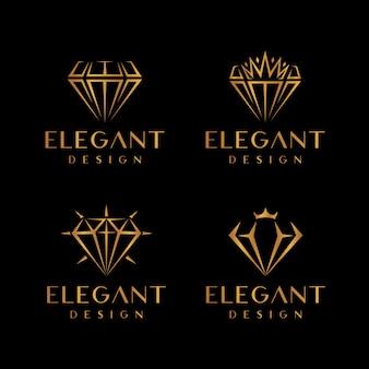 Set di logo elegante in oro con diamanti e gioielli