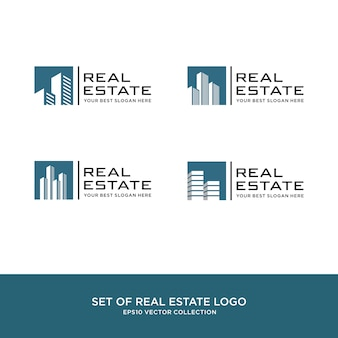 Set di logo immobiliare, edilizia e costruzioni