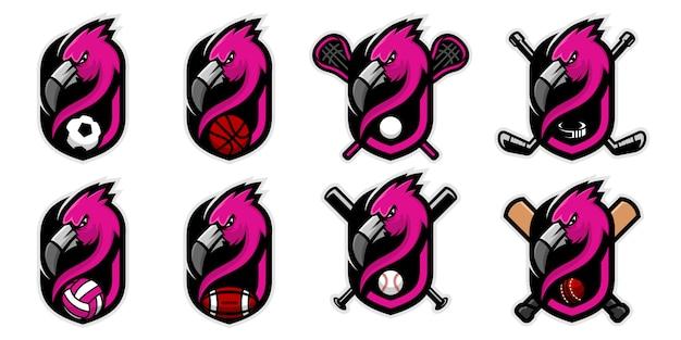 Set di logo mascotte testa flamingo per il calcio.