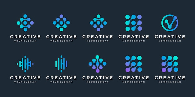 Set di logo monogramma con il concetto di punto. simbolo di chip di dna di atomo molecola colorato biotecnologia universale. questo logo è adatto per ricerca, scienza, medicina, logotipo, tecnologia, laboratorio, molecola.