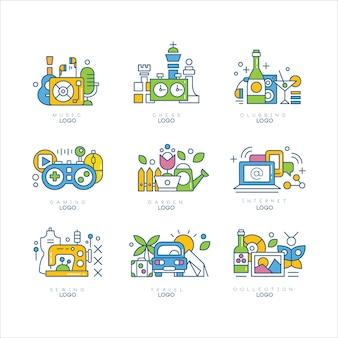 Set di logo, musica, scacchi, discoteca, giochi, giardino, internet, cucito, viaggi, etichette creatività scienza e arte illustrazioni su sfondo bianco