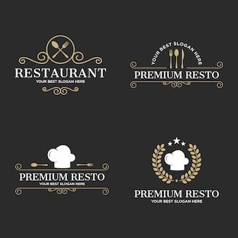 Set di logo ristorante di lusso