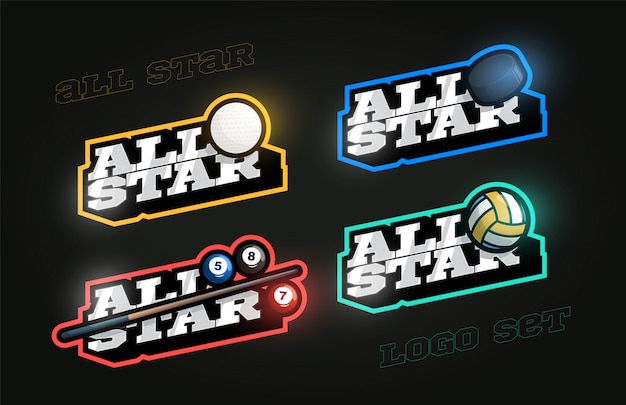 Set di logo sportivo stile retrò per tutte le stelle
