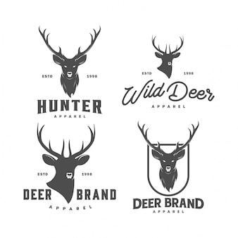 Set di logo vintage cervo