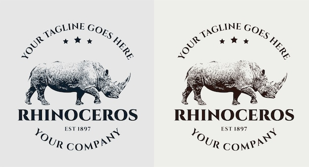 Set di logo vintage di rinoceronte