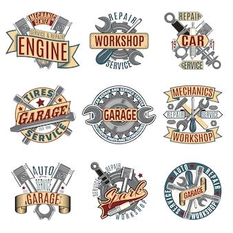 Set di logotipi colorati di servizio di riparazione auto