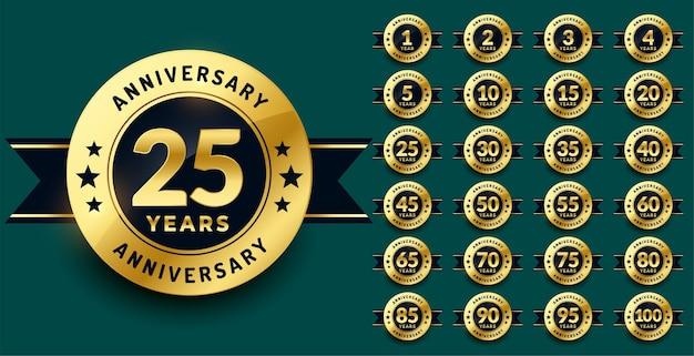 Set di logotipi di etichette o emblemi di anniversario d'oro premium