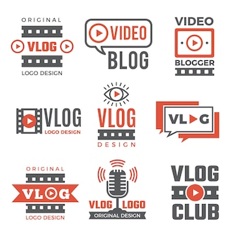 Set di logotipi per i video blogger