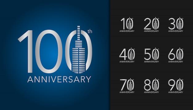 Set di logotipo di anniversario d'argento.