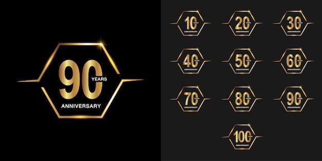 Set di logotipo di celebrazione anniversario d'oro.