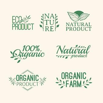 Set di logotipo. distintivi, etichette, con elementi di piante, ghirlande e rami verdi di allori. modello di progettazione per prodotti naturali. fattorie, segno biologico e bio. decorazione di erbe e foglie.