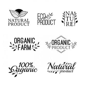 Set di logotipo monocromatico. distintivi, etichette, con piante, erbe e foglie elementi, ghirlande e rami verdi di allori. modello di progettazione per prodotti naturali. fattorie, segno biologico e bio. .