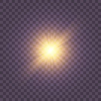 Set di luce incandescente gialla esplode su uno sfondo trasparente particelle di polvere magica scintillante. la stella è esplosa di scintillii. stella brillante glitter oro. sole splendente trasparente, flash luminoso