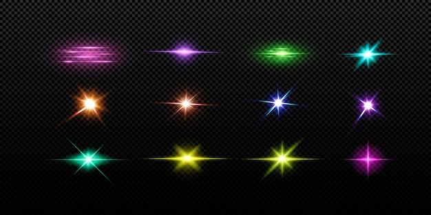 Set di luci colorate su sfondo nero.