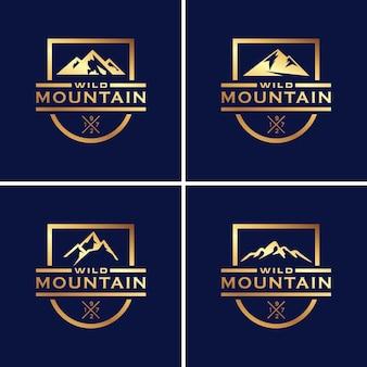 Set di lusso vintage design logo di montagna