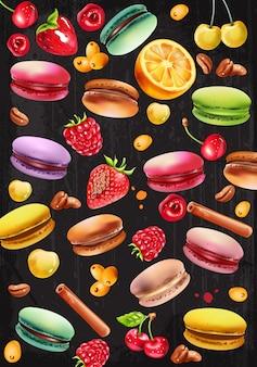Set di macarons, lampone, fragola, ciliegie bianche e rosse, chicchi di caffè, bastoncini di cannella e bacche di pyracantha