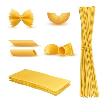 Set di maccheroni secchi in varie forme, pasta, lasagne, farfalle, spaghetti