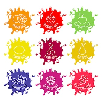 Set di macchie colorate di succo o marmellata.