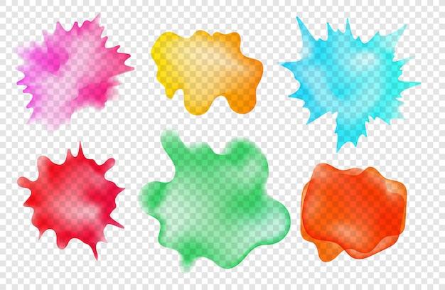 Set di macchie di aquarelle acquerello su sfondo trasparente