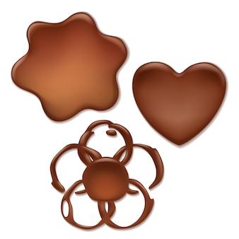 Set di macchie di cioccolato fondente - cuore, onda, forme di fiori.