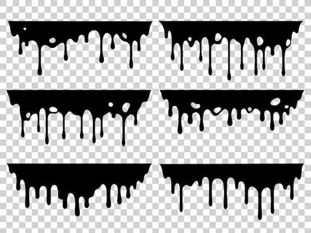 Set di macchie di olio gocciolante