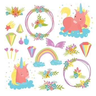 Set di magia con unicorni. simpatici cavalli, un mondo di sogni e sogni