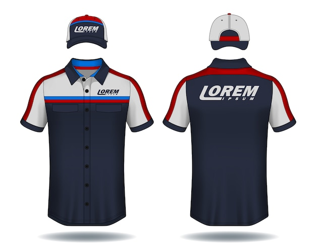 Set di magliette polo e cappellini modello uniforme.