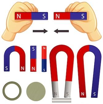 Set di magneti in diverse forme su sfondo bianco