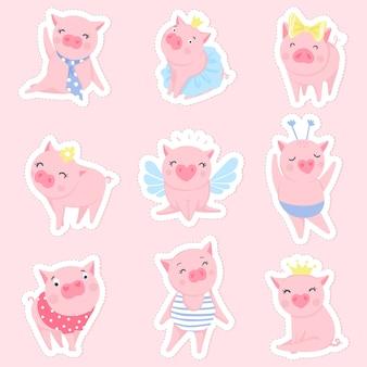 Set di maiali rosa carino