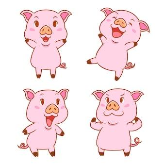 Set di maiali simpatico cartone animato in diverse pose.