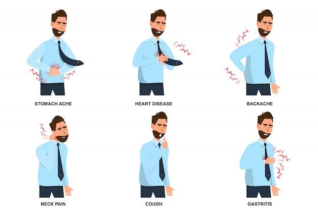 Set di mal di stomaco uomo malato, malattie cardiache, mal di schiena, dolore al collo, tosse e gastrite